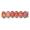 Glass Bead Ribbed 8X11mm Pink Luster Strung